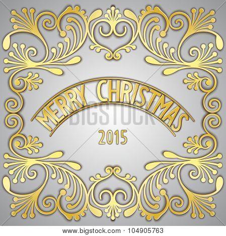Merry Christmas 3D golden signboard