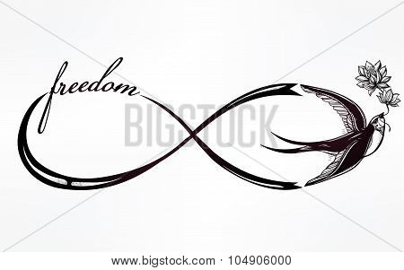 Infinity linear Infinity linear poster with two moons. with swallow bird.