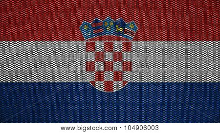 Flag of Croatia, Croatian flag painted on texture with stitches