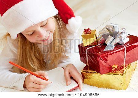 Funny Girl In Santa Hat Writes Letter To Santa