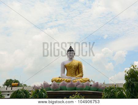 Big Buddha Statue At Bangkok Downtown