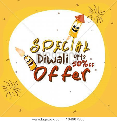 Sale Poster, Banner or Flyer with special discound offer on firecrackers for Indian Festival of Lights, Happy Diwali celebration.