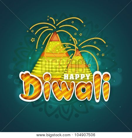 Colourful glossy firecrackers on shiny floral decorated background for Indian Festival of Lights, Happy Diwali celebration.