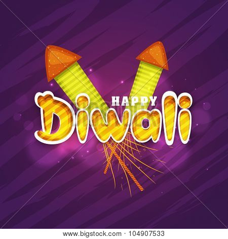 Indian Festival of Lights, Happy Diwali celebration with glossy colourful firecrackers on purple background.