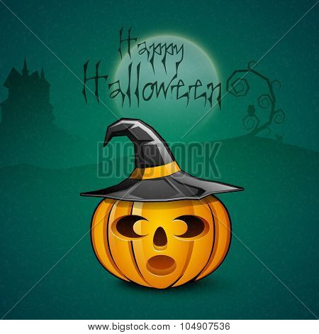 Scary pumpkin with witch hat on horrible night background for Happy Halloween Party celebration.