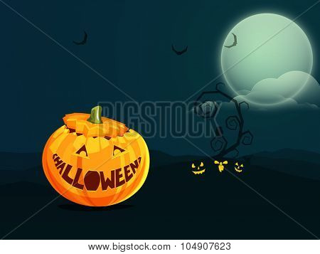 Happy Halloween Party celebration concept with creative scary pumpkin on horrible night background.