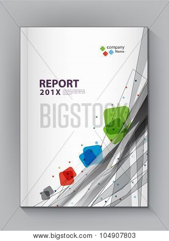 Modern Annual Report Cover Design Vector Dot Technology