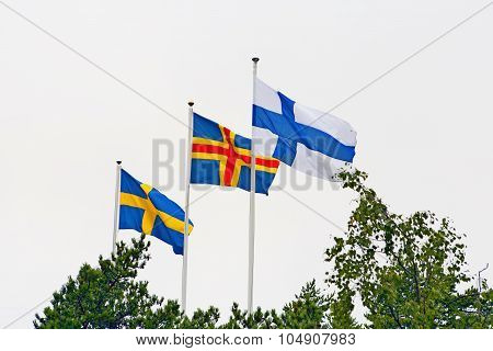 Nordic Flags In Aland Islands.