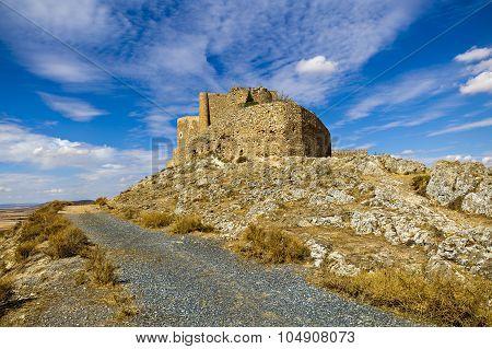 Medieval Castle And Windmills Of Consuegra In Toledo Province, Castilla La Mancha, Central Spain.