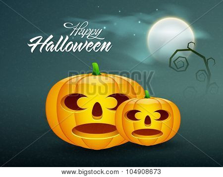 Happy Halloween Party celebration with scary pumpkins on horrible night background.