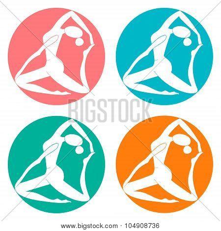 Fitness sport club logo vector illustration