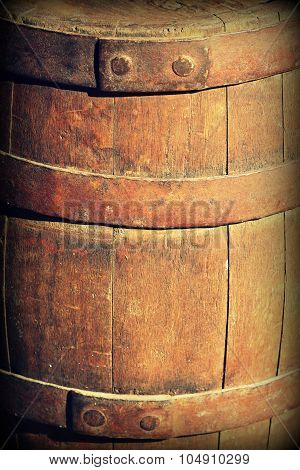 Vintage photo of old wooden barrel