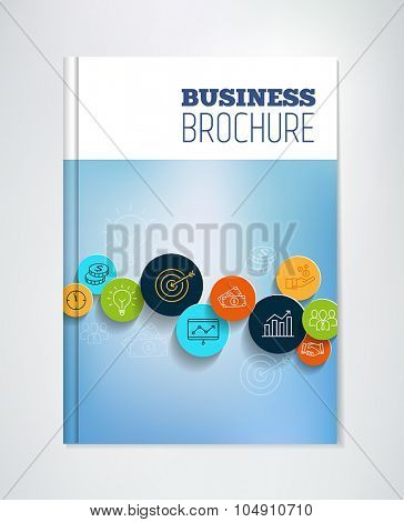 Business brochure with icons symbolizing productivity, success, management and financial growth.