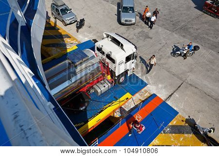 Loading a ferry.