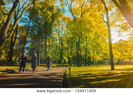 Colourfull illustration of autumn season in city park in oil painting style