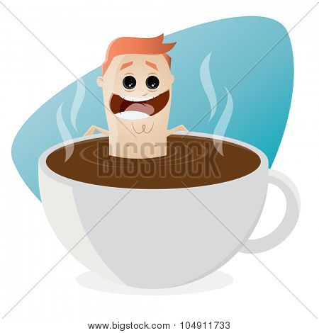 funny cartoon man bathing in a cup of coffee