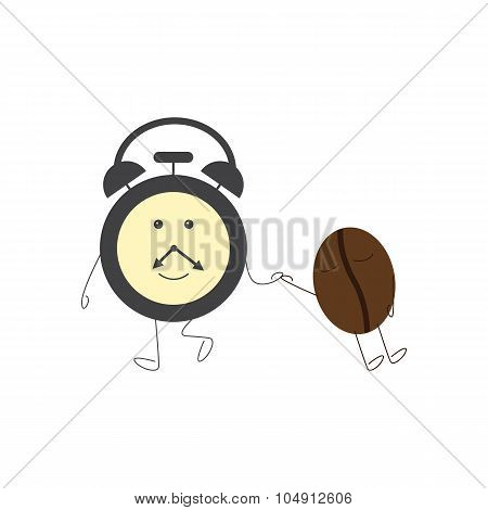 Alarm Clock And Sleeping Coffee Bean