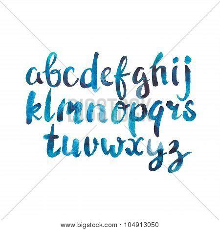 Colorful watercolor aquarelle font type handwritten hand drawn doodle abc alphabet letters