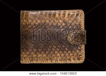 Purse Leather Snake On A Black Background