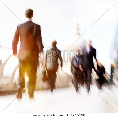 Commuter Business People Commuter Crowd Walking Cathedral Concept