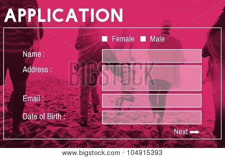 Application Form Interface Webpage Register Concept