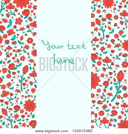Flowers text placeholder both sides red color