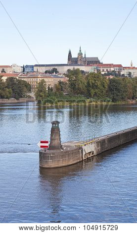 Lighthouse at the Slavic island. Prague. Czech Republic.