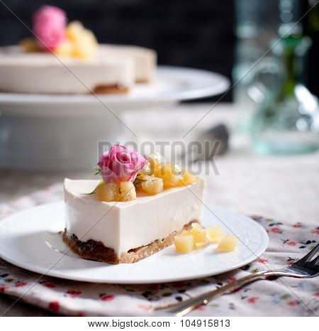 Rose flavor cheesecake  on a white plate