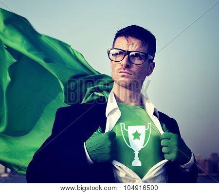 Trophy Strong Superhero Success Professional Empowerment Stock Concept