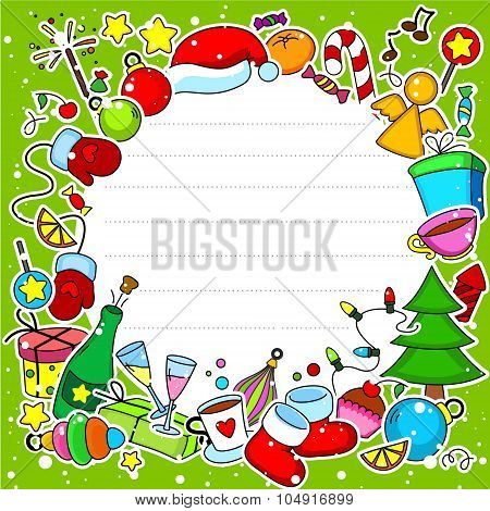Christmas card in a circle