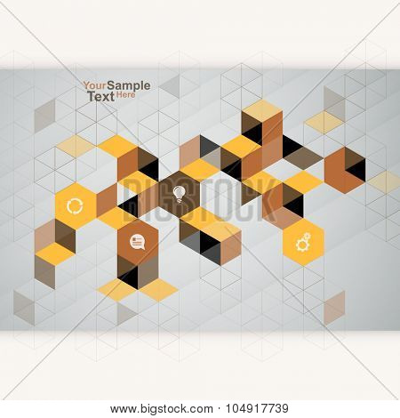 Abstract Cube Design Template brown