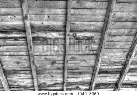Wooden roof in black and white
