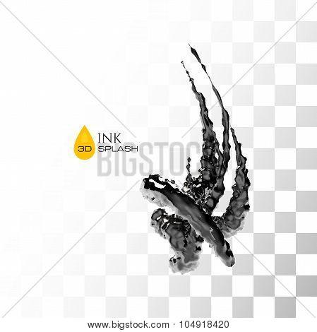 Black 3D ink or oil splash isolated on white