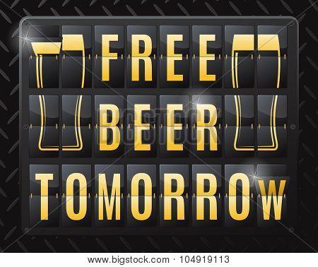 Free Beer Tomorrow Sale Steel Flip Calendar.