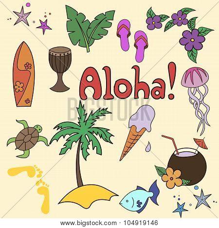 Hawaii cocktail symbols yellow color