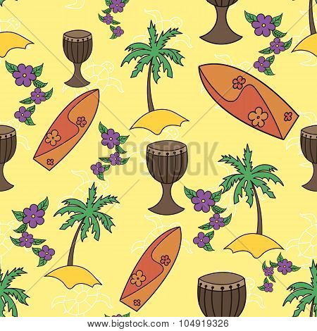 Hawaii cocktail seamless pattern yellow color