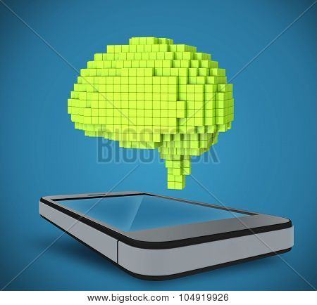 The brain as a 3D pixel, located over the phone