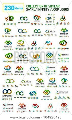 Huge mega collection of swirl, loop, infinity shaped logo. Similar colorful icons