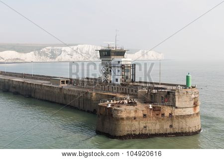 The Pier And White Cliffs Of The Port Of Dover
