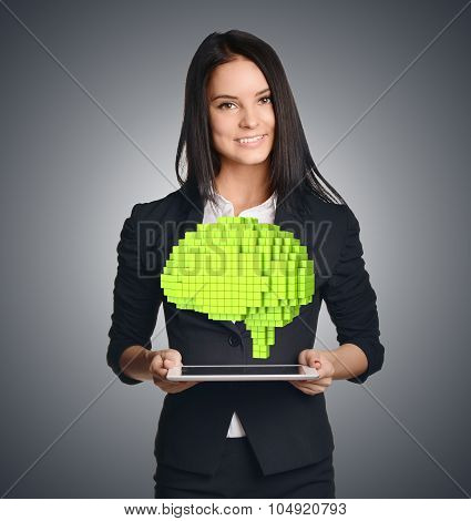 Business woman showing a pixel to the brain