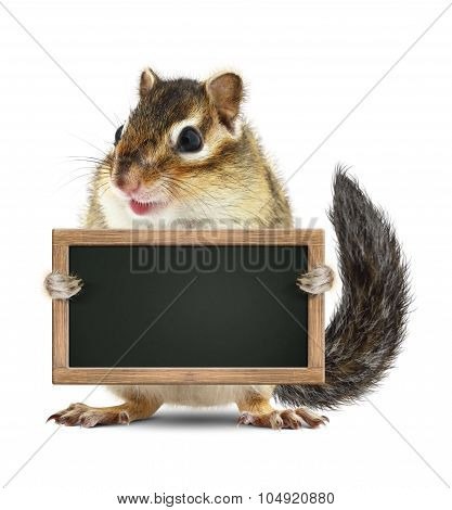 Funny Chipmunk Hold Blank Blackboard, Isolated On White