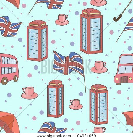 Great Britain symbols seamless pattern