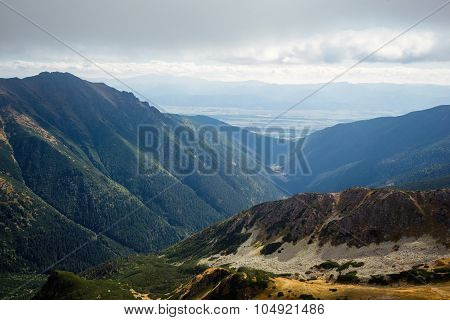 skyline view from Ostry Rohac peak at Tatras