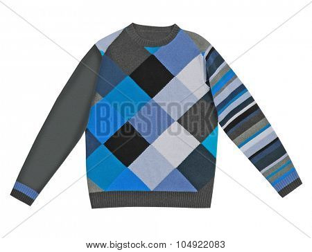 checkered woolen sweater isolated on white background