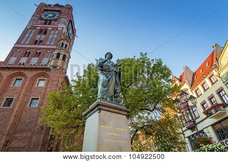 TORUN, POLAND - AUG 9, 2015: Monument of Nicolaus Copernicus in Torun, Poland. Torun is one of the oldest cities in Poland and the birthplace of the astronomer Nicolaus Copernicus.