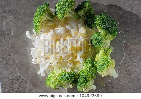chopped leek and broccoli