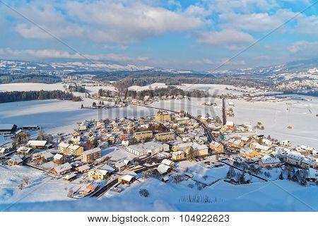 Beautiful Landscape Of Gruyeres In Winter