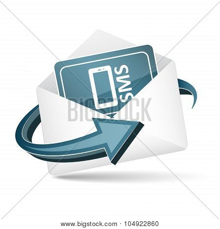 Open envelope. Send sms concept with arrow and paper sheet. Vector icon.