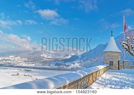 Esplanade In Front Of The Castle Of Gruyeres