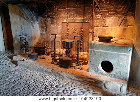Exhibition Of Kitchen Utensils Held At The Castle Of Gruyeres In Switzerland